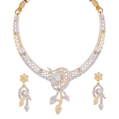 Indian Jewellery from Meira Jewellery:Necklace,FILGREE DESIGN AMERICAN DIAMOND CHOKER NECKLACE SET WITH MATCHING EARRING FOR WOMEN