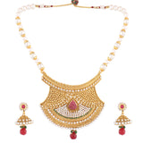 PEARL SET RAJASTHANI PENDENT WITH MATCHING EARRING FOR WOMEN