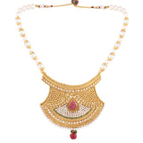 Indian Jewellery from Meira Jewellery:Necklace,PEARL SET RAJASTHANI PENDENT WITH MATCHING EARRING FOR WOMEN