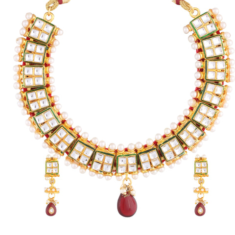 KUNDAN CHOKER NECKLACE SET WITH TEAR DROP PENDENT & MATCHING EARRING FOR WOMEN