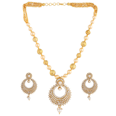 PEARL NECKLACE SET WITH MELEE AMERICAN DIAMONDS IN CHANEL DESIGN & MATCHING EARRING FOR WOMEN