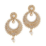 Indian Jewellery from Meira Jewellery:Necklace,PEARL NECKLACE SET WITH MELEE AMERICAN DIAMONDS IN CHANEL DESIGN & MATCHING EARRING FOR WOMEN