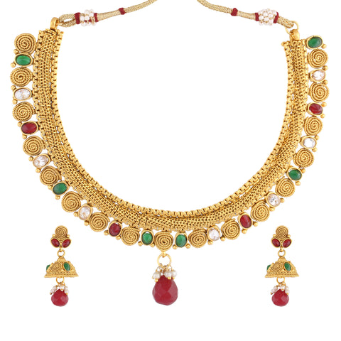 Indian Jewellery from Meira Jewellery:Necklace,KUNDAN NECKLACE SET WITH FILIGREE DESIGN MULTI COLOR & MATCHING EARRING FOR WOMEN