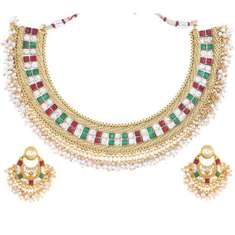 PRINCESS CUT KUNDAN NECKLACE SET WITH MULTI COLOR & MATCHING EARRING FOR WOMEN