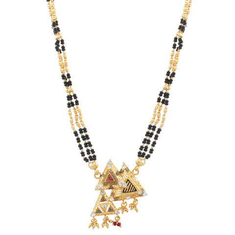 Indian Jewellery from Meira Jewellery:Mangalsutra,Gold Plated Trikon Design Mangalsutra