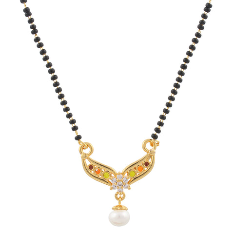 Gold Plated Compact Design Mangalsutra with studded Pearl