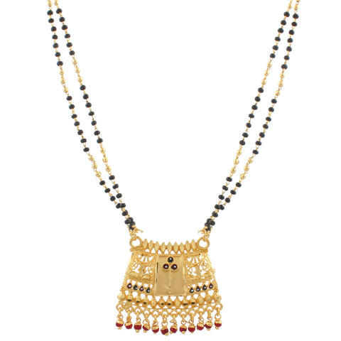 Gold Plated Mangalsutra with Black beads For Women