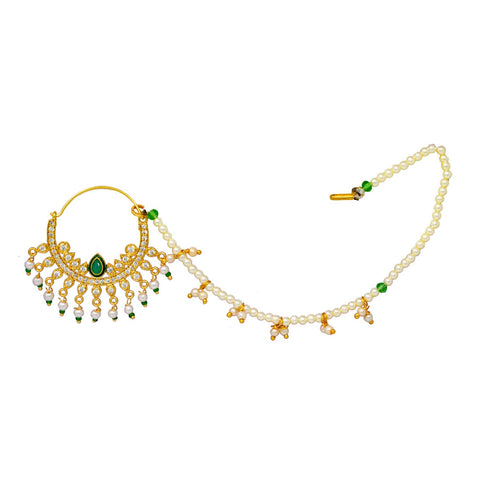 AD CZ Studded  Green Nath with Pearl work for women