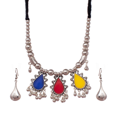 German Silver Oxodized Necklace with Earring for Women