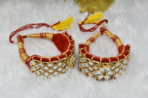 Indian Jewellery from Meira Jewellery:Rajasthani Jewellery,Rajasthani Gold Plated Kundan Work Red Punshi