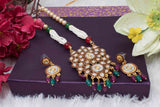 Kundan Studded Pearl Necklace Set with Earring