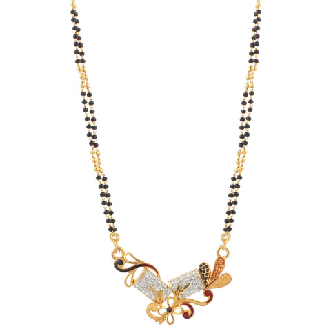 Indian Jewellery from Meira Jewellery:Mangalsutra,Floral Design Mangalsutra with Gold Plating