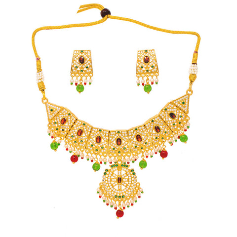 American Diamond Gold Plated Necklace with Earrings