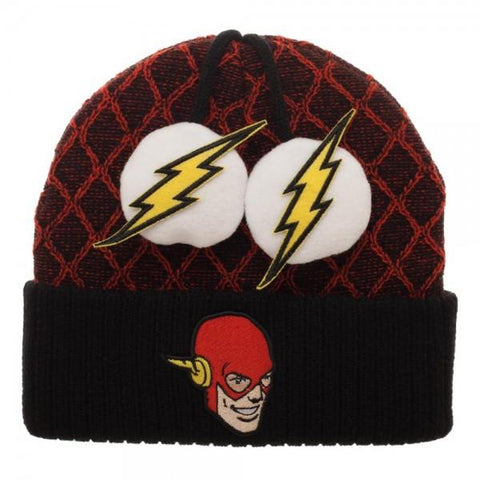 Flash Lightning Bolt Pom Beanie - GeekaPeek