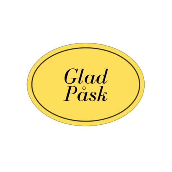 Glad Påsk, Oval Etikett 29x41mm