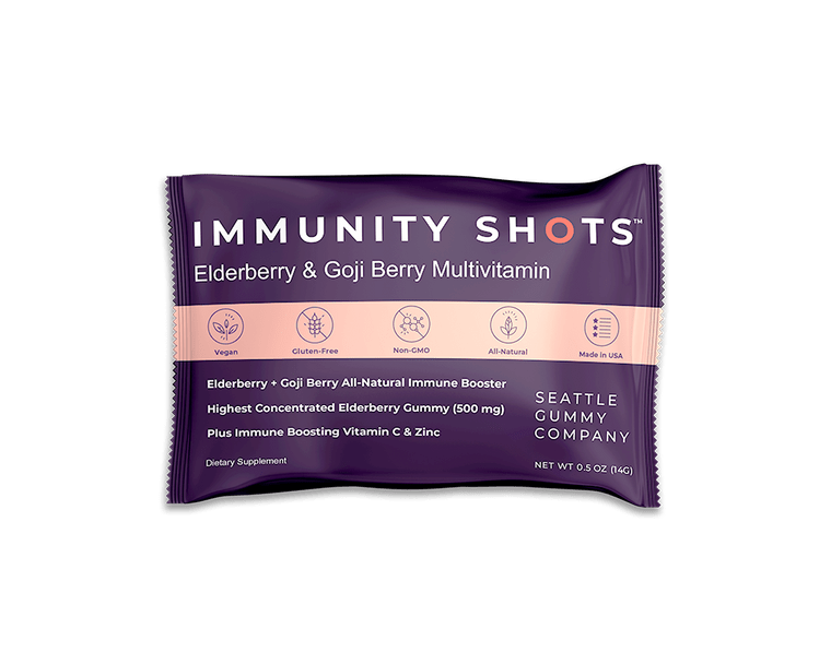 Immunity Shots! Elderberry and Goji Berry Multivitamin (12x4 shots, 500mg elderberry/gummy) Gift Mocca Shots High Energy Chocolate Caffeine Gummies