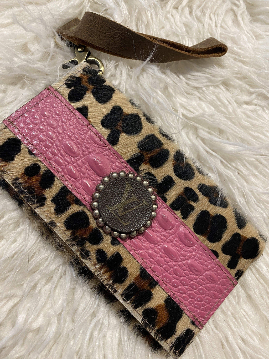 Keep It Gypsy Genuine Leather and Hide Wallet with LV embellishment!! PINK!!! Crossbody Bag Keep It Gypsy
