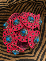 Tool Leather Hot Pink Concho Belt! Jewelry L&B