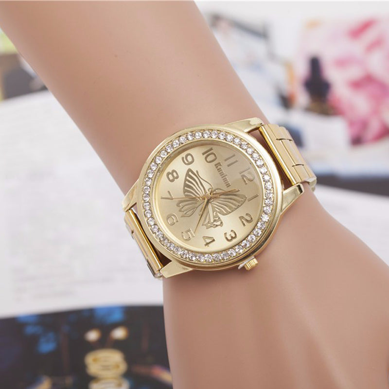 Gold Brushed Butterfly Watch