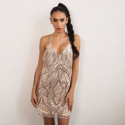 Embellished Lace Halter Dress
