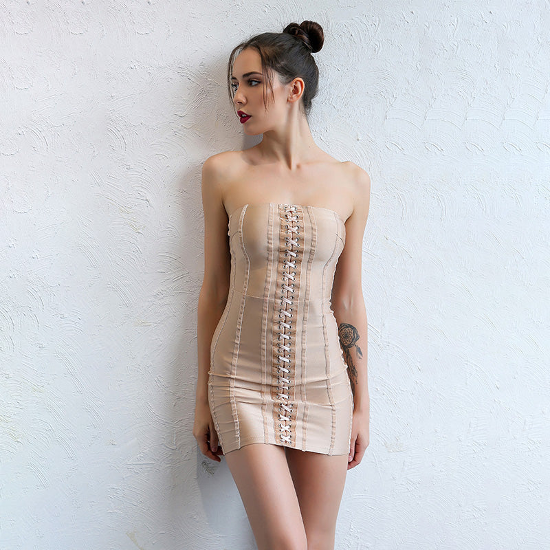Strapless Lace Up Dress