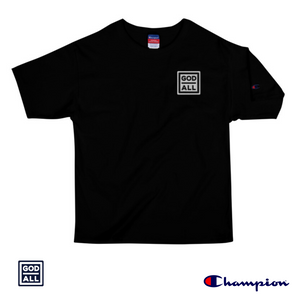 The God Over All Champion, Christian T-shirt, white patch, the god over all navy patch, christian tees, black christian t-shirts, Champion tess, champion t-shirts