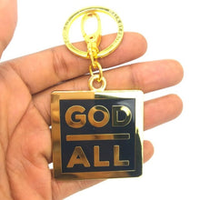 God over all 18k gold plated keychain Christian Keyring