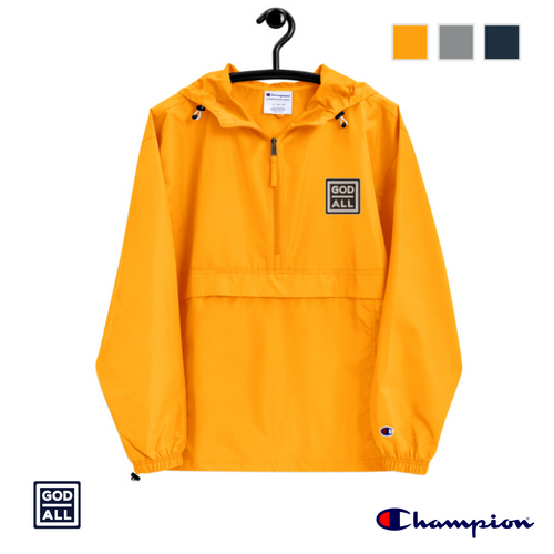 The God Over All Champion windbreaker, yellow christian windbreaker, christian clothing, christian apprarel