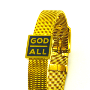 the God over all gold mesh christian bracelet