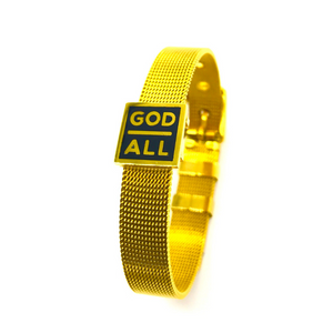 18k gold plated God over all christian bracelet