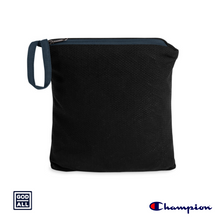 The God Over All Champion windbreaker, navy windbreaker,storage bag, storage pouch