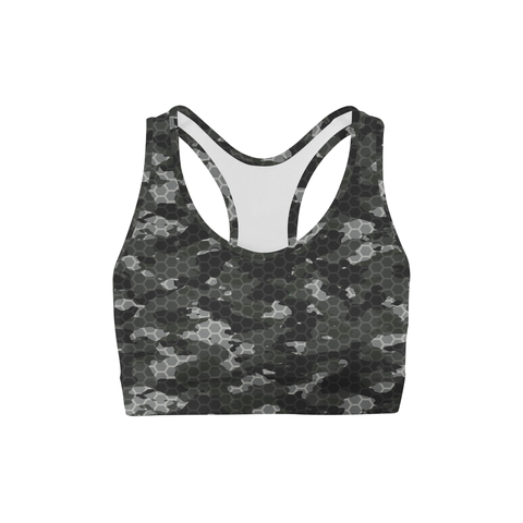 Averi J. Black Hex Camo Sports Bra
