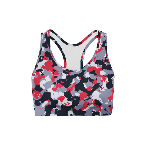 Averi J. Red White Camo Sports Bra