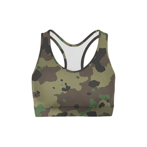 Averi J. Dark Green Camo Sports Bra