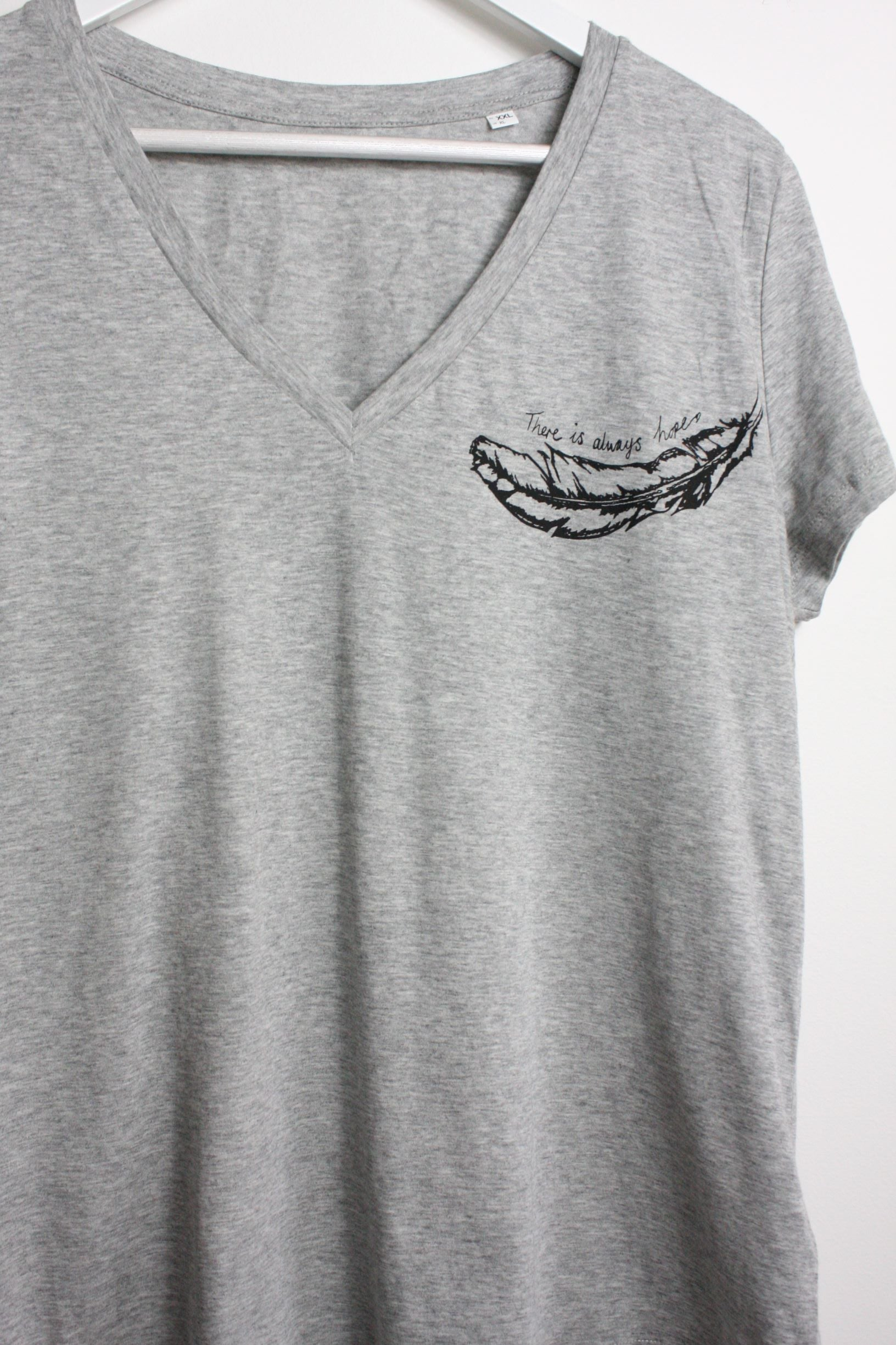 Grey v neck t shirt with black feather design
