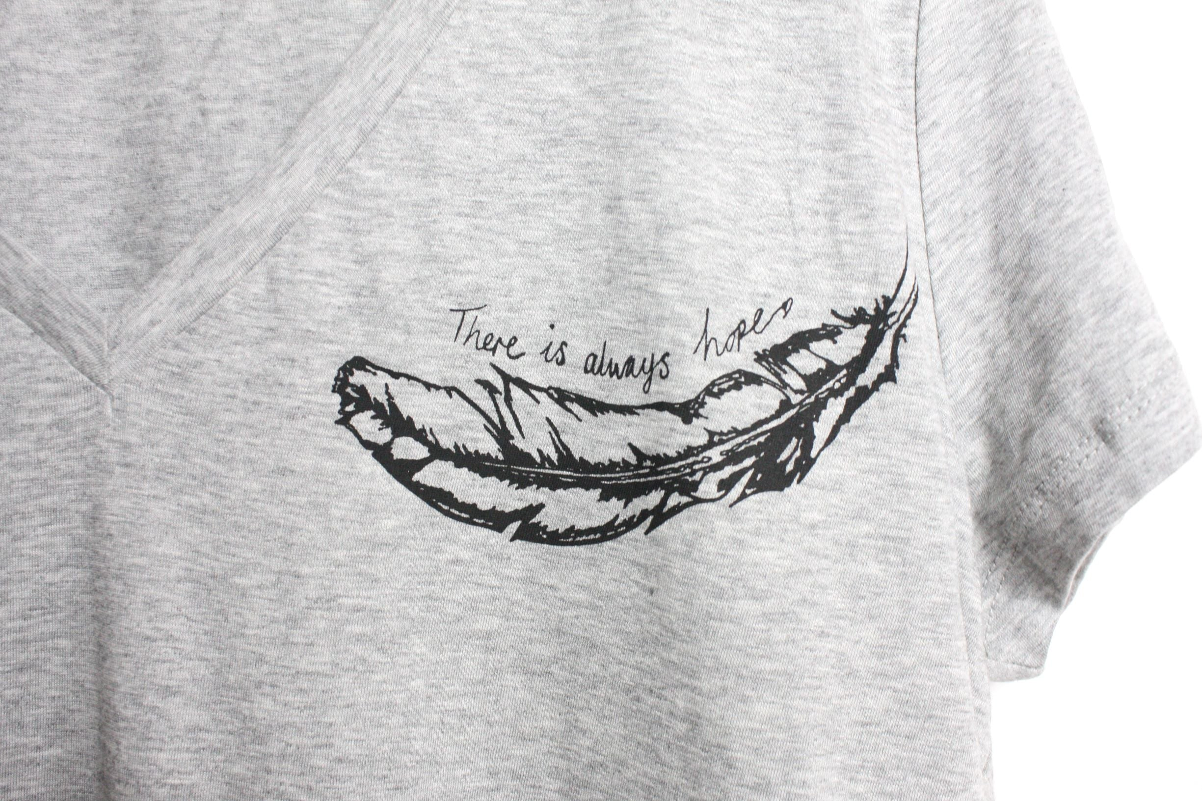 close up of There Is Always Hope design on grey v neck t shirt