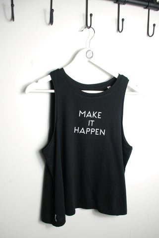 Black cotton vest top with Make it Happen in white ink printed