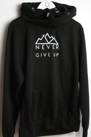 Black snood hoodie featuring Never Give Up design in white ink