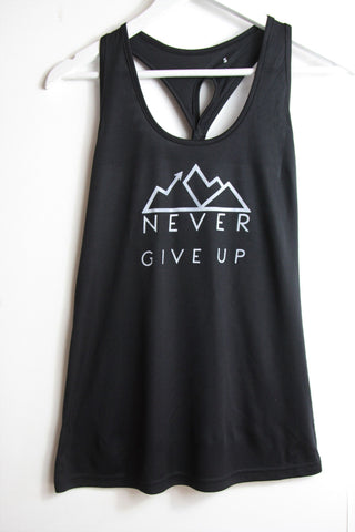black sports vest featuring Good220 motto Never Give Up