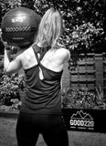 Lynsey Goodyear wearing a black sports vest with knot detail