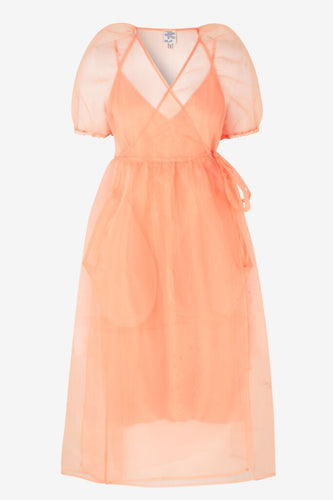 ADALAINE SS ORGANZA MIDI DRESS - CORAL ROSE