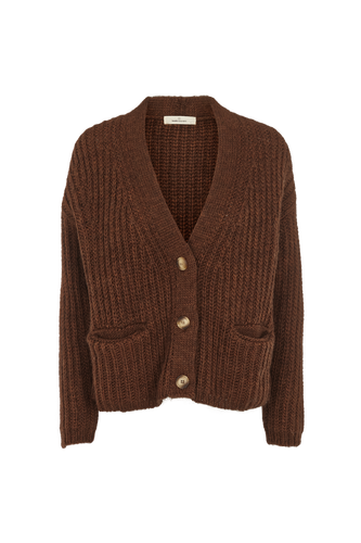 LEONA SHORT KNIT CARDIGAN - BROWN  MELANGE