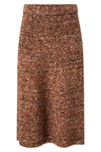 SHAYLA KNIT SKIRT - RUST BROWN