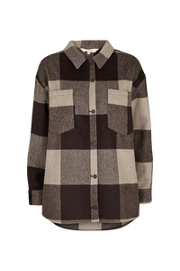 AMINA CHECK OVERSHIRT - BROWN
