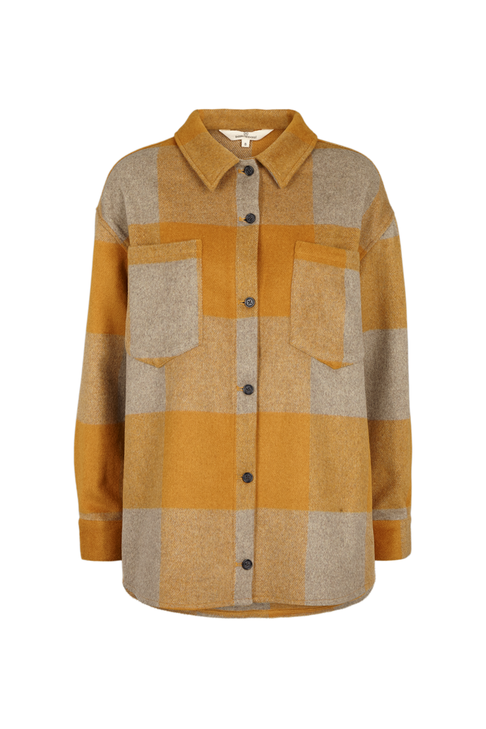 AMINA CHECK OVERSHIRT - HONEY MUSTARD