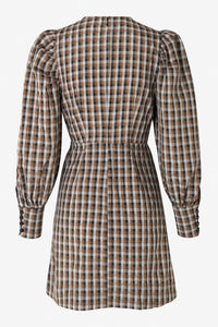 AIDINE SHORT DRESS - TOBACCO GINGHAM