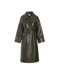 TORI PATENT COAT - ARMY