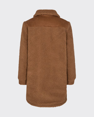 TRISSA OUTERWEAR FLEECE JACKET - LEATHER BROWN