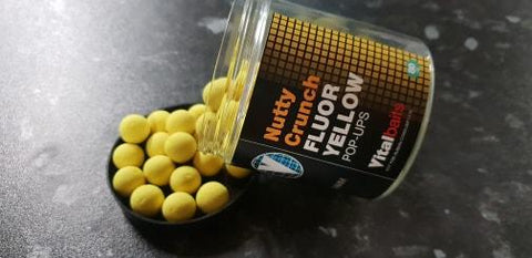 Vital Baits Nutty Crunch Fluoro Yellow Pop Ups 14mm