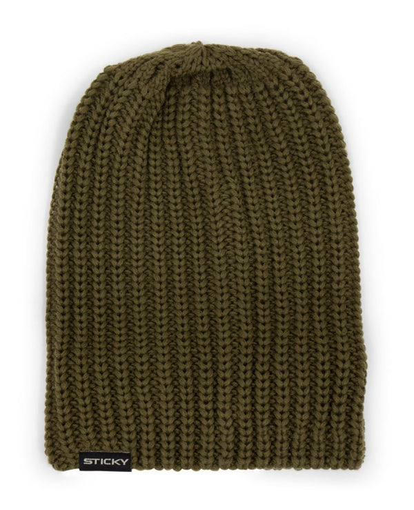 Sticky Olive Knitted Beanie
